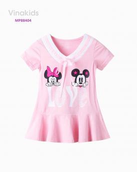 Đầm Mickey love màu hồng phấn