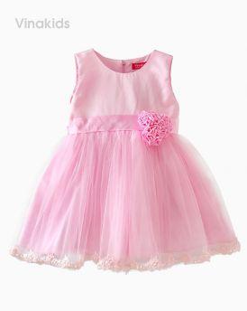 Đầm ren cao cấp 3 bông màu hồng (1-8 tuổi)