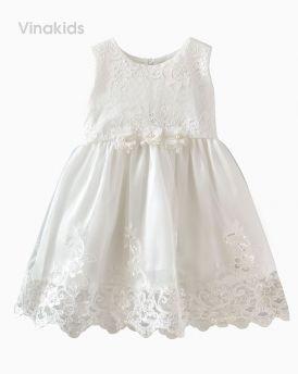 Đầm ren cao cấp kim sa sang chảnh màu trắng (1-8 tuổi)