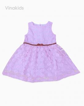 Đầm ren nơ nhung màu hồng D0168