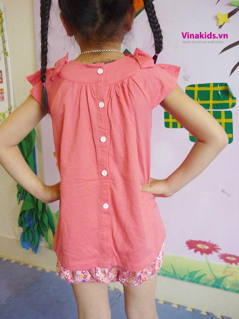 Đồ bộ Váy áo bé gái có nơ mầu hồng đằng sau