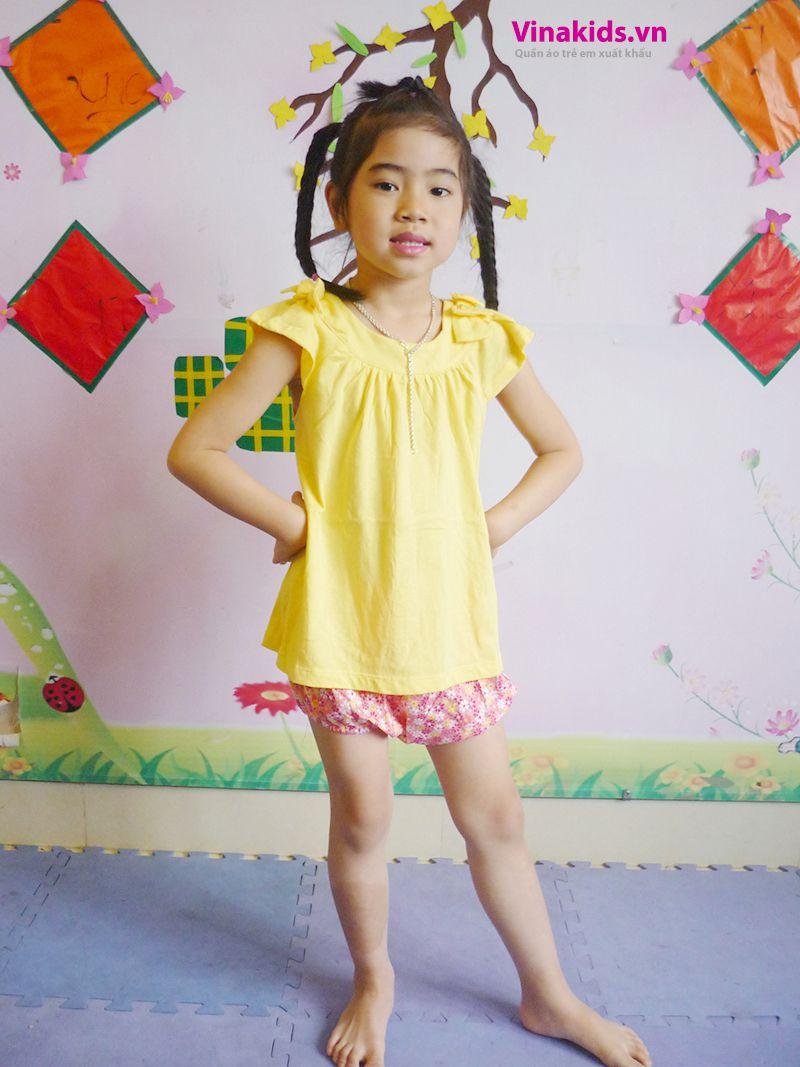 Đồ bộ Váy áo bé gái có nơ màu mầu vàng
