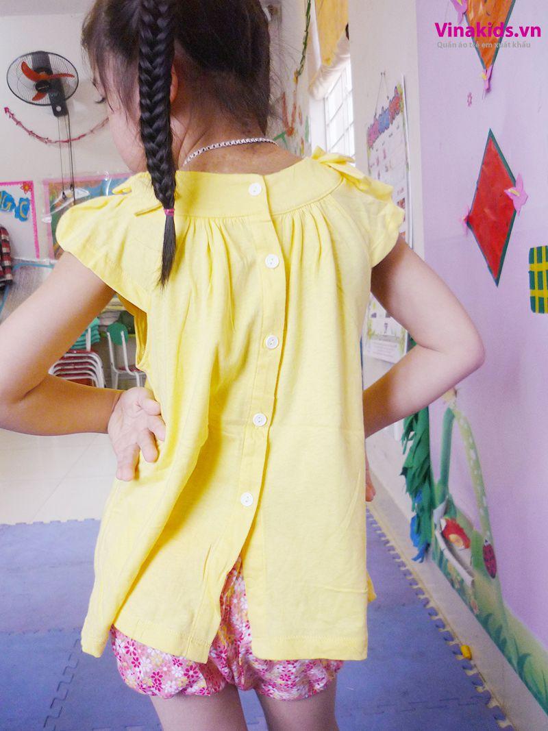 Đồ bộ Váy áo bé gái có nơ màu mầu vàng đằng sau