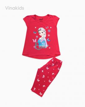 Đồ bộ bé gái Elsa màu hồng dâu