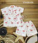Đồ bộ bé gái Pijama họa tiết thiên nga màu kem (1-6 tuổi)