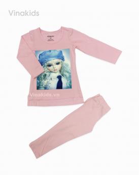 Đồ bộ bé gái búp bê màu hồng nhạt