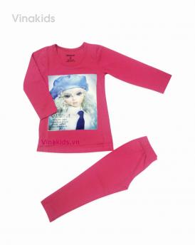 Đồ bộ bé gái búp bê màu hồng sen