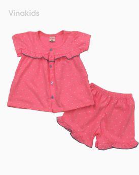 Đồ bộ bé gái cài khuy màu hồng ( 2-7 tuổi)