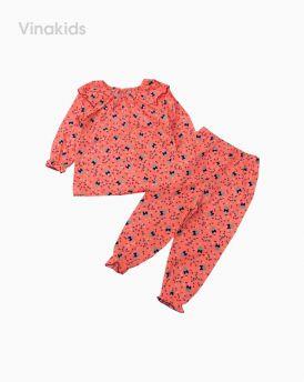 Đồ bộ bé gái cổ bèo màu hồng cam (1-6 tuổi)
