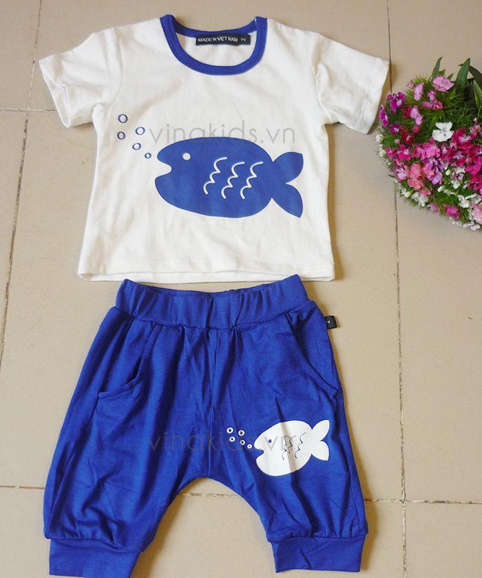 Đồ bộ bé gái con cá màu xanh coban