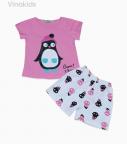 Đồ bộ bé gái cotton chim cánh cụt màu hồng sen