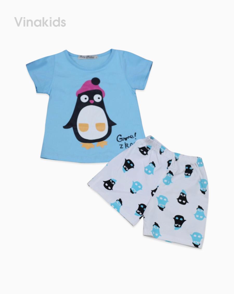Đồ bộ bé gái cotton chim cánh cụt màu xanh