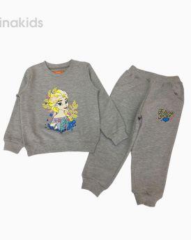 Đồ bộ bé gái dài tay họa tiết Elsa màu Ghi (2-9 tuổi)