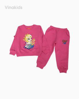 Đồ bộ bé gái dài tay họa tiết Elsa màu hồng sen (2-9 tuổi)