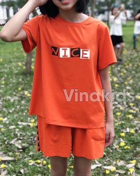 Đồ bộ bé gái dáng thể thao Nice màu cam (10-15 tuổi)