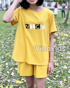 Đồ bộ bé gái dáng thể thao Nice màu vàng (10-15 tuổi)