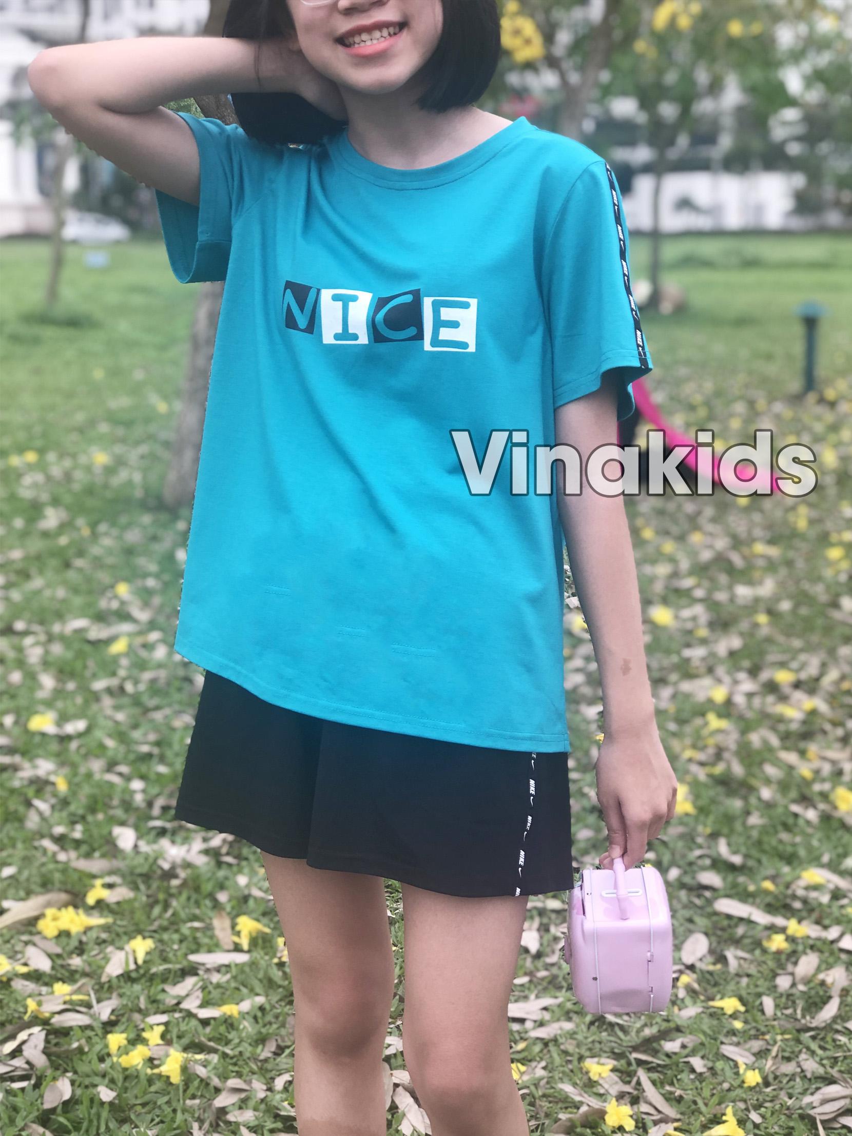 Đồ bộ bé gái dáng thể thao Nice màu xanh (10-15 tuổi)