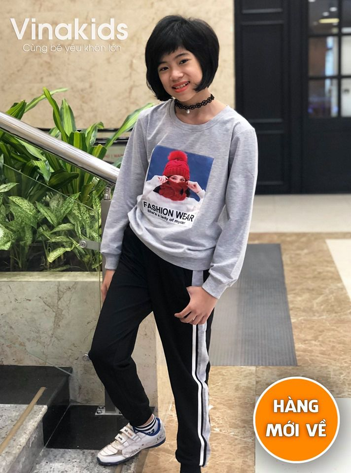 Đồ bộ bé gái hình cô gái cho bé từ 7 tuổi đến 14 tuổi