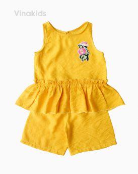 Đồ bộ bé gái đũi thêu hoa màu vàng (1-7 tuổi)