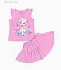 Đồ bộ bé gái elsa chân váy màu hồng phấn