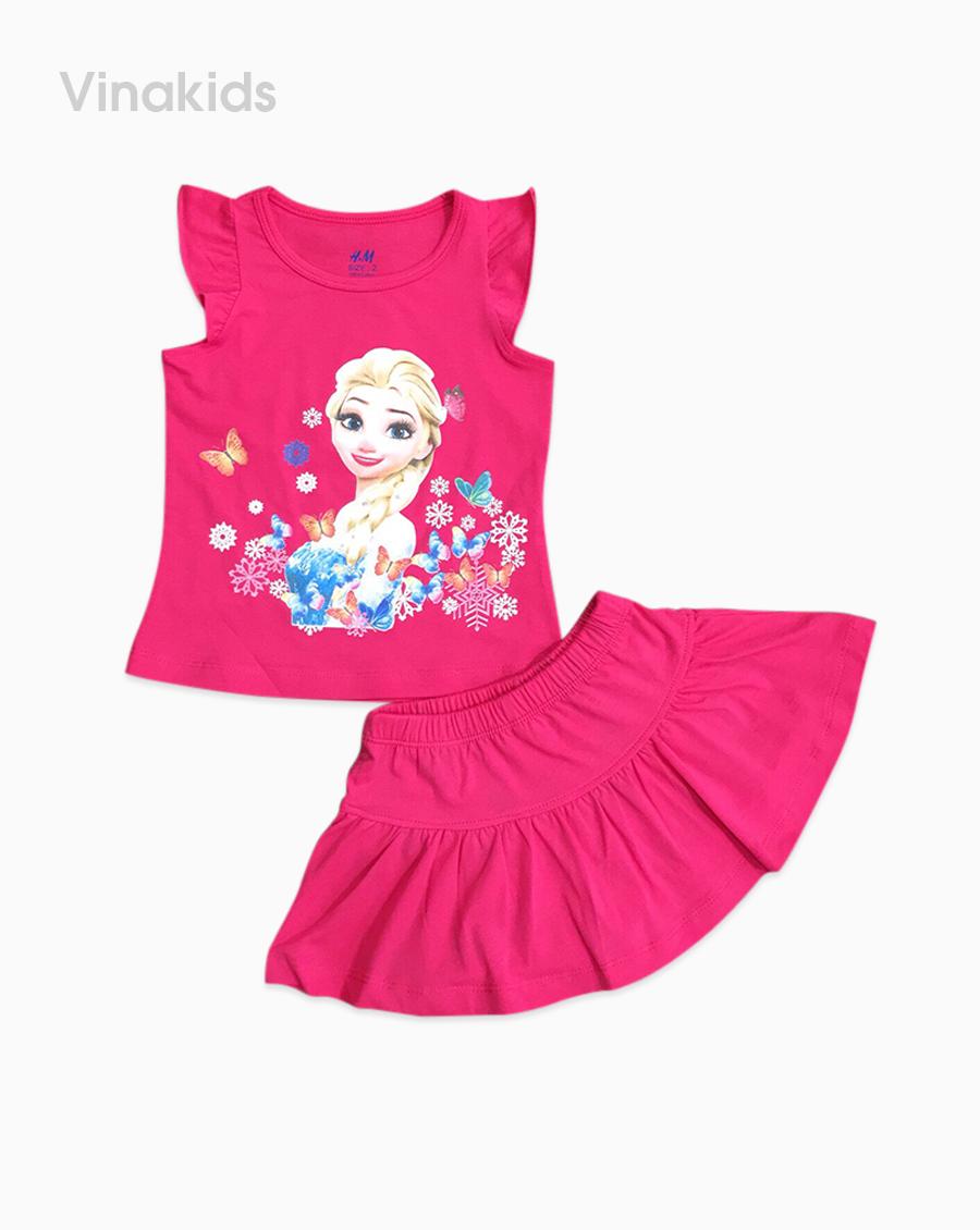 Đồ bộ bé gái elsa chân váy màu hồng sen