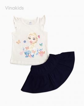 Đồ bộ bé gái elsa chân váy màu trắng