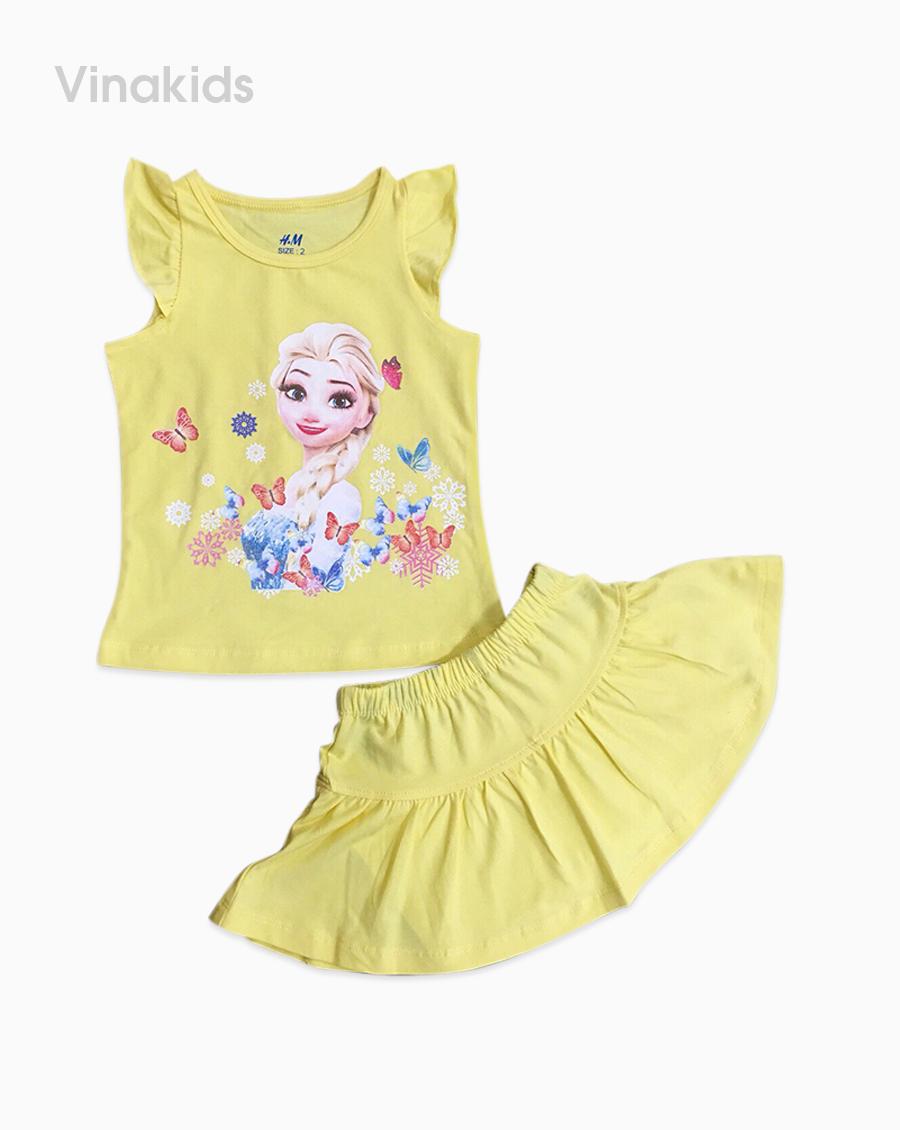 Đồ bộ bé gái elsa chân váy màu vàng