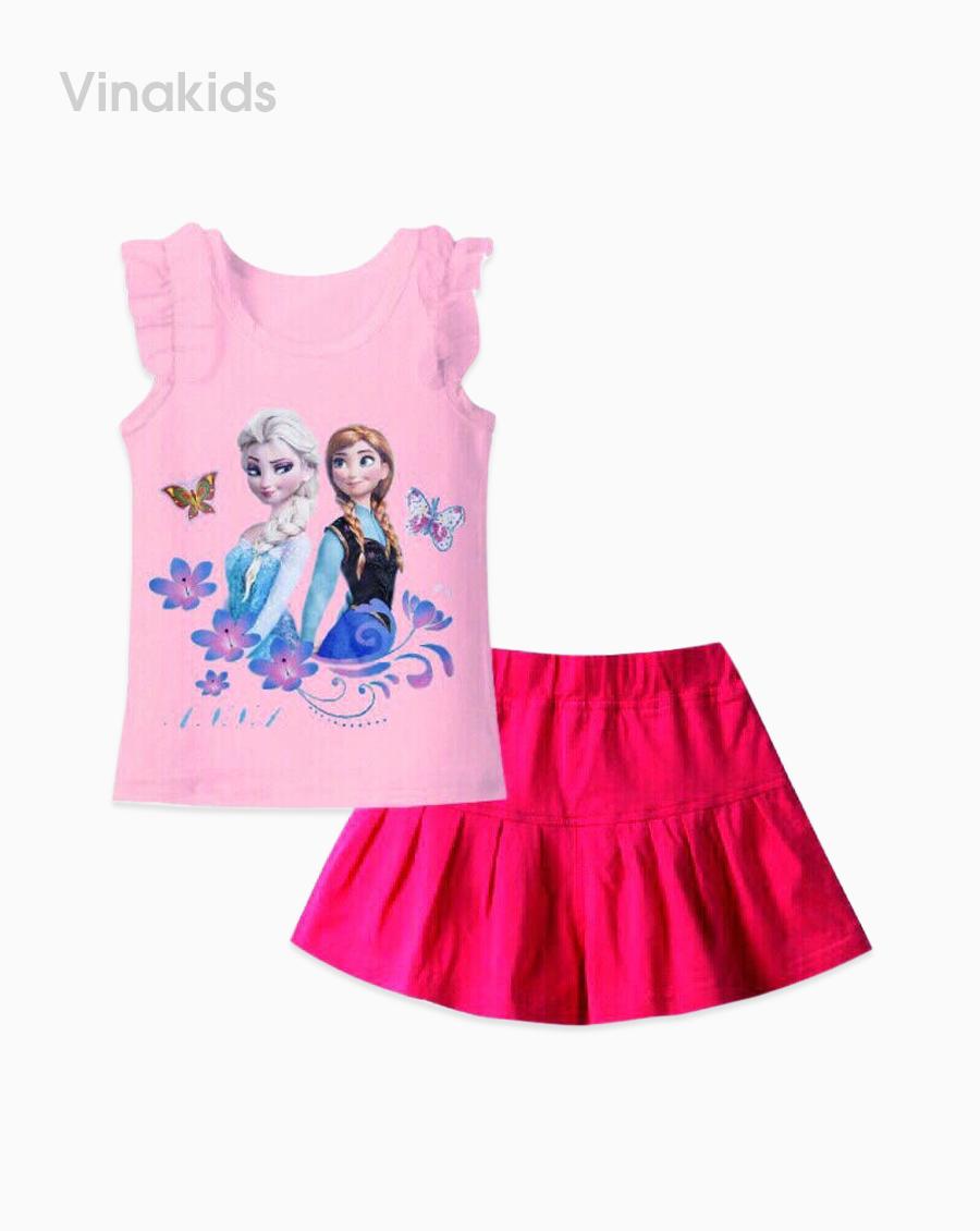 Đồ bộ bé gái elsa màu hồng quần giả váy hồng sen đại
