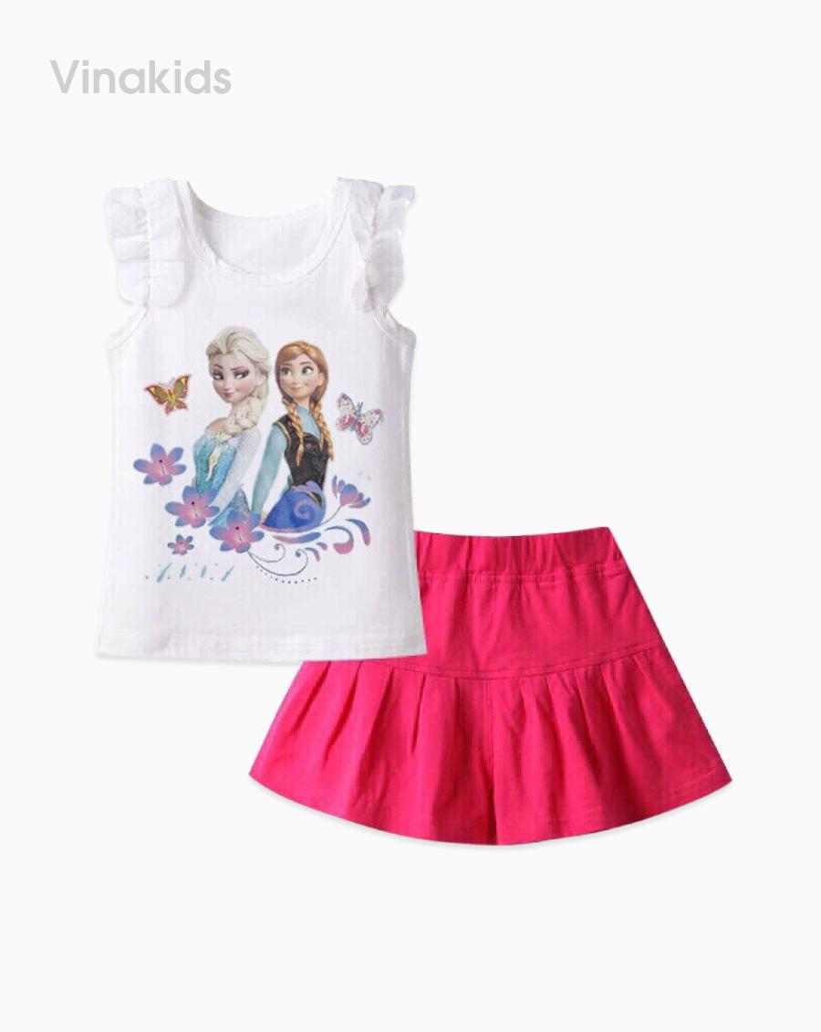 Đồ bộ bé gái elsa màu trắng quần giả váy hồng sen nhí