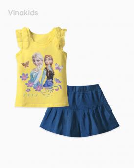 Đồ bộ bé gái elsa màu vàng quần giả váy hồng xanh nhí