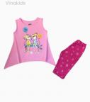 Đồ bộ bé gái hai cô gái màu hồng phấn