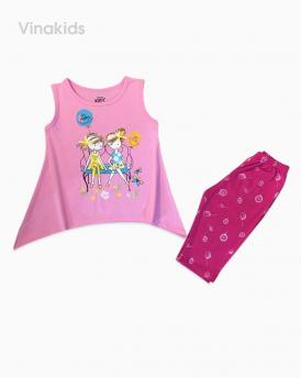 Đồ bộ bé gái hai cô gái màu hồng phấn đại