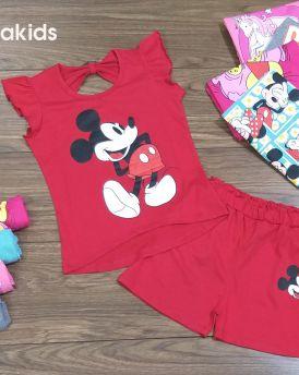 Đồ bộ bé gái hình Mickey màu đỏ (6-10 tuổi)