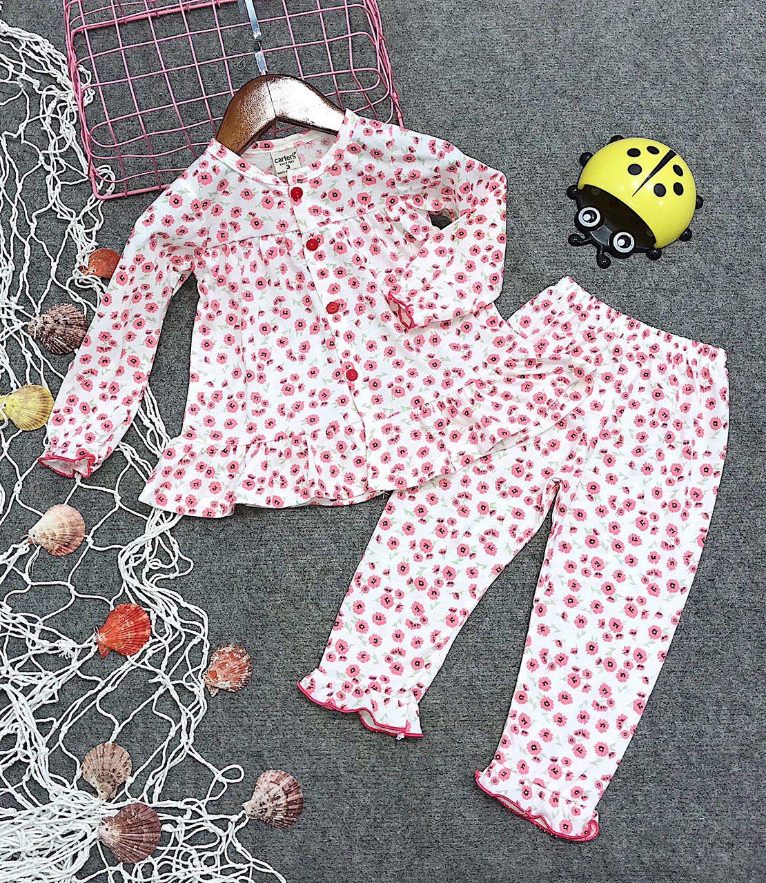 Đồ bộ bé gái hình hoa màu hồng (1-6 tuổi)