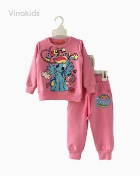 Đồ bộ bé gái họa tiết ngựa Pony màu hồng (1-8 tuổi)
