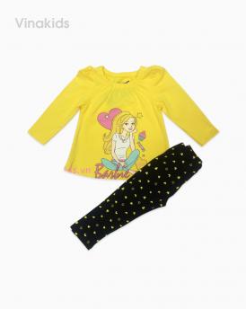 Đồ bộ bé gái in Barbie màu vàng