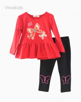 Đồ bộ bé gái in hình bướm màu đỏ (1-8 Tuổi)