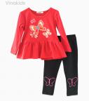 Đồ bộ bé gái in hình bướm màu đỏ (9-14 Tuổi)