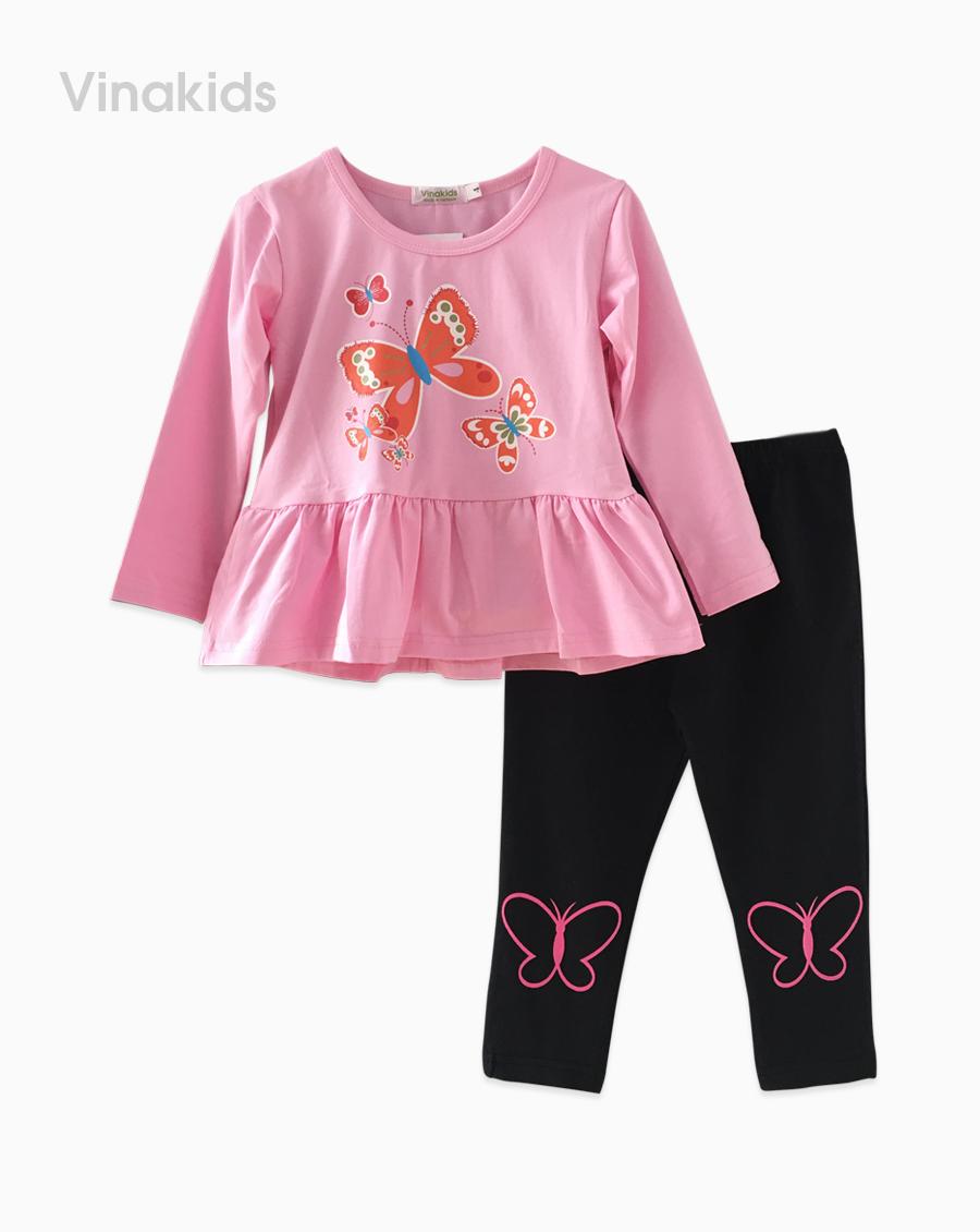 Đồ bộ bé gái in hình bướm màu hồng phấn (9-14 Tuổi)