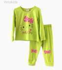 Đồ bộ bé gái in hình kitty màu cốm (1-8 Tuổi)