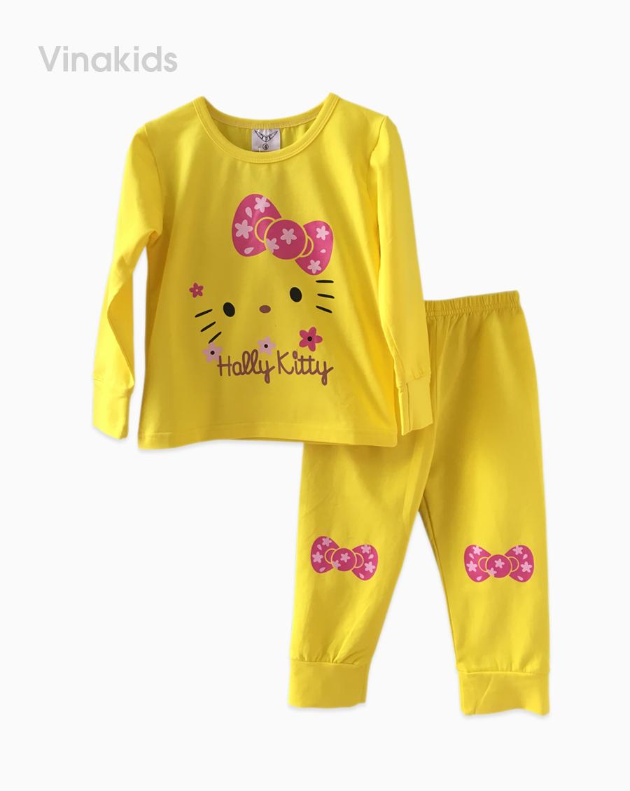 Đồ bộ bé gái in hình kitty màu vàng (1-8 Tuổi)