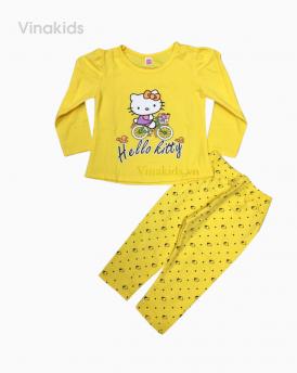 Đồ bộ bé gái in kitty màu vàng