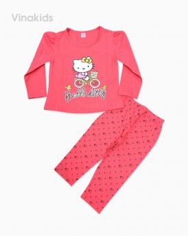 Đồ bộ bé gái kitty xe đạp màu hồng đào