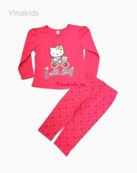 Đồ bộ bé gái kitty xe đạp màu hồng sen