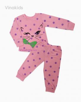 Đồ bộ bé gái mèo màu hồng đào