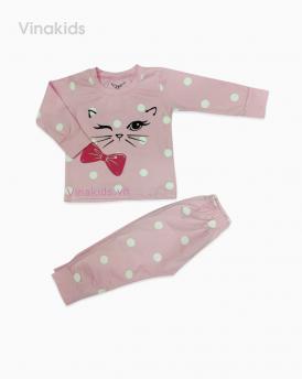 Đồ bộ bé gái mèo màu hồng phấn