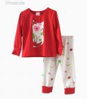 Đồ bộ bé gái mèo trái cây màu đỏ (1-8 Tuổi)