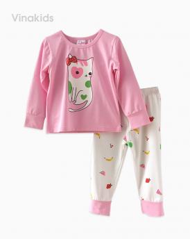 Đồ bộ bé gái mèo trái cây màu hồng phấn (1-8 Tuổi)