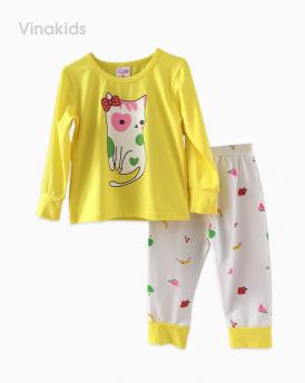 Đồ bộ bé gái mèo trái cây màu vàng (1-8 Tuổi)