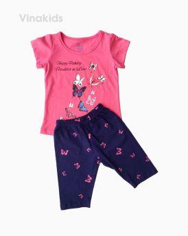 Đồ bộ bé gái ngắn tay hình bướm màu hồng (1-7 tuổi)